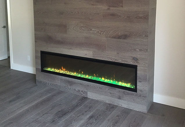 Hardwood integrated in a fireplace